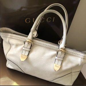 GUCCI Ivory leather Guccissima Tote bag purse Auth